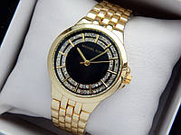 Женские кварцевые наручные часы копия Michael Kors (Майкл Корс) золото, черный циферблат, фото 1