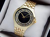 Жіночі кварцові наручні годинники копія Michael Kors (Майкл Корс) золото, чорний циферблат, фото 1