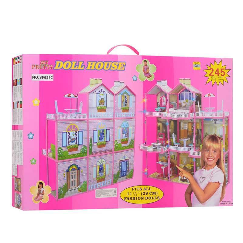 Домик для куклы 3х этажный  с меблями  109-107-41 см