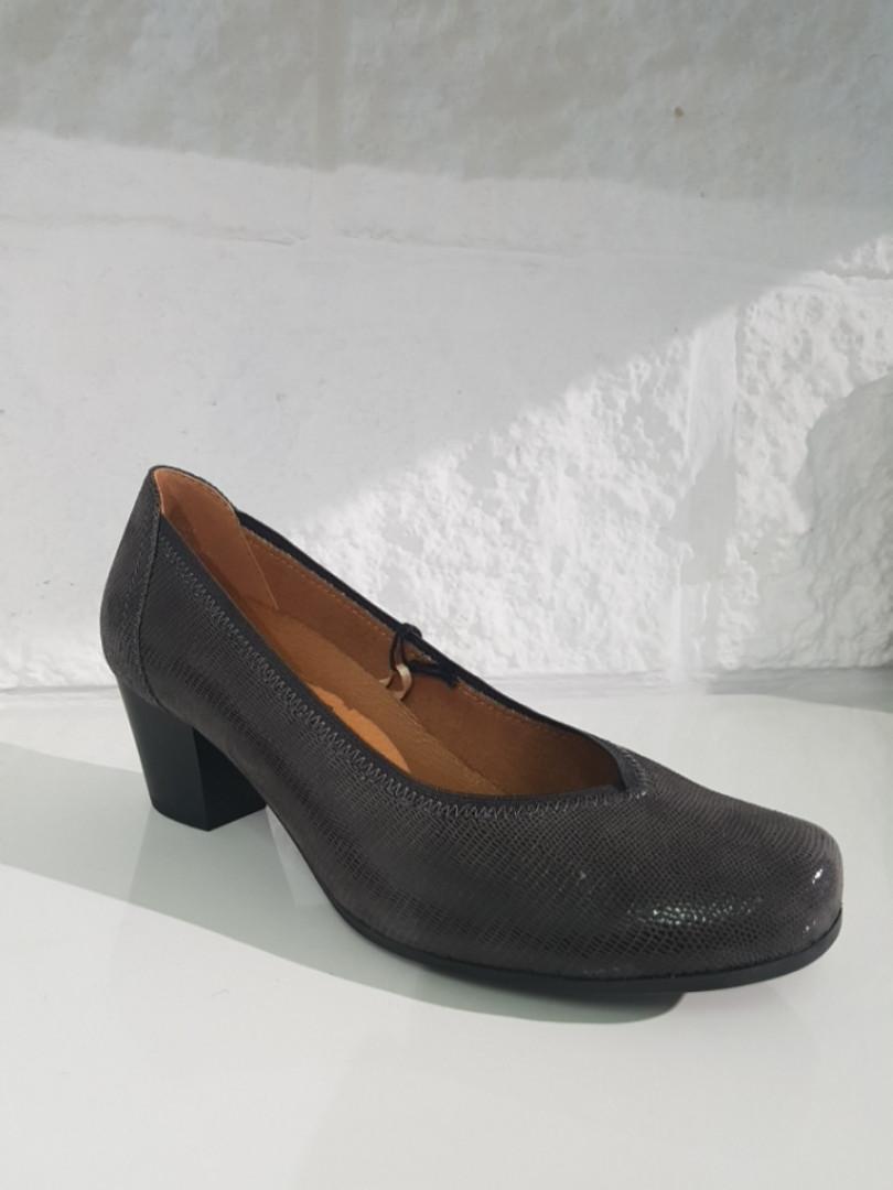 Туфлі жіночі CAPRICE 223 DK Grey rept сірі, шкіра з лазерним напиленням