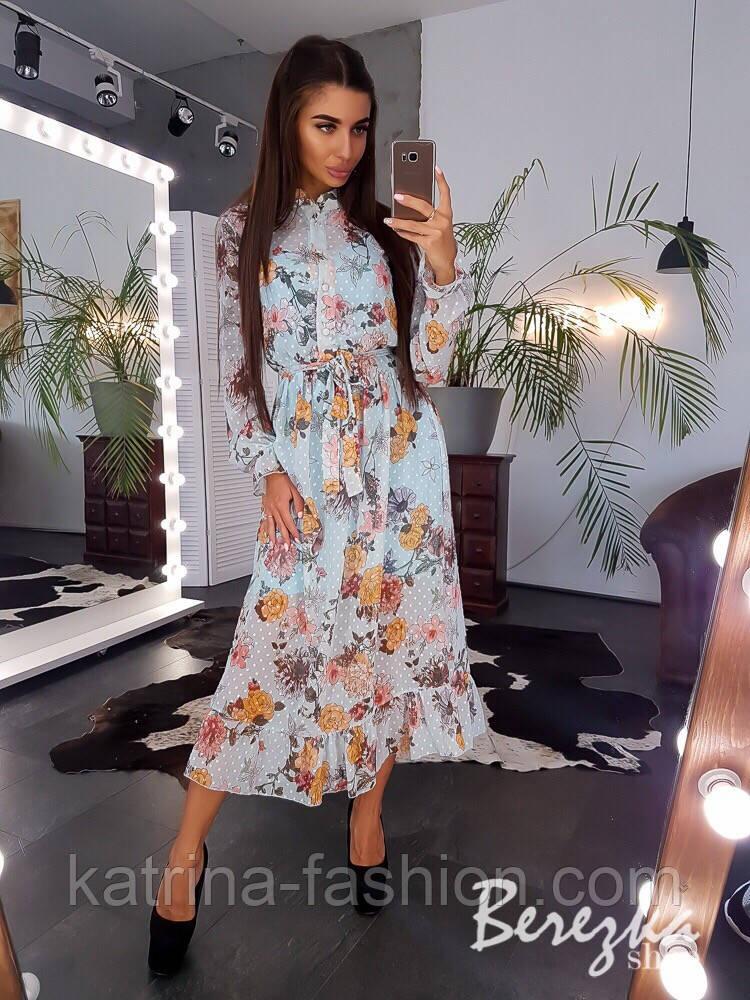 Женское элегантное нежное платье с цветочным принтом в горошек