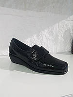 Туфлі жіночі GoErgo чорні (шкіра / текстиль), фото 1