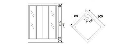 """AURORA  душ кабина квадратная, стекло (4мм) """"FABRIC"""" 800*800*1800 (без поддона), фото 2"""
