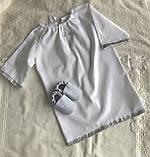 Белый с серебристым набор для крещения 3-ка ( пинетки, длинная рубашка и мешочек для первого локона), фото 4