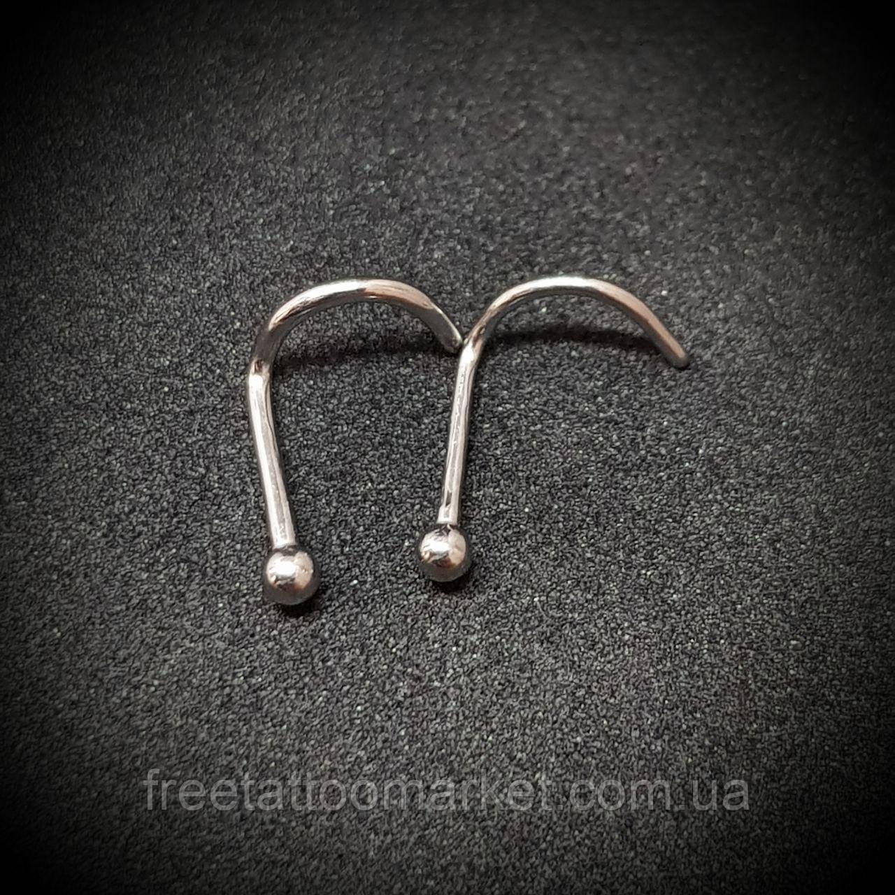 Серьги для пирсинга носа с шариком (нострил) 0.8 х 6.5 х 2 мм (титан)