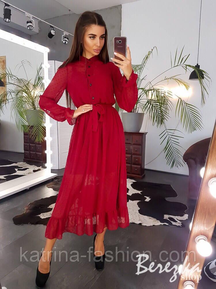 Женское элегантное нежное платье-миди в горошек