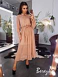 Женское элегантное нежное платье-миди в горошек, фото 8