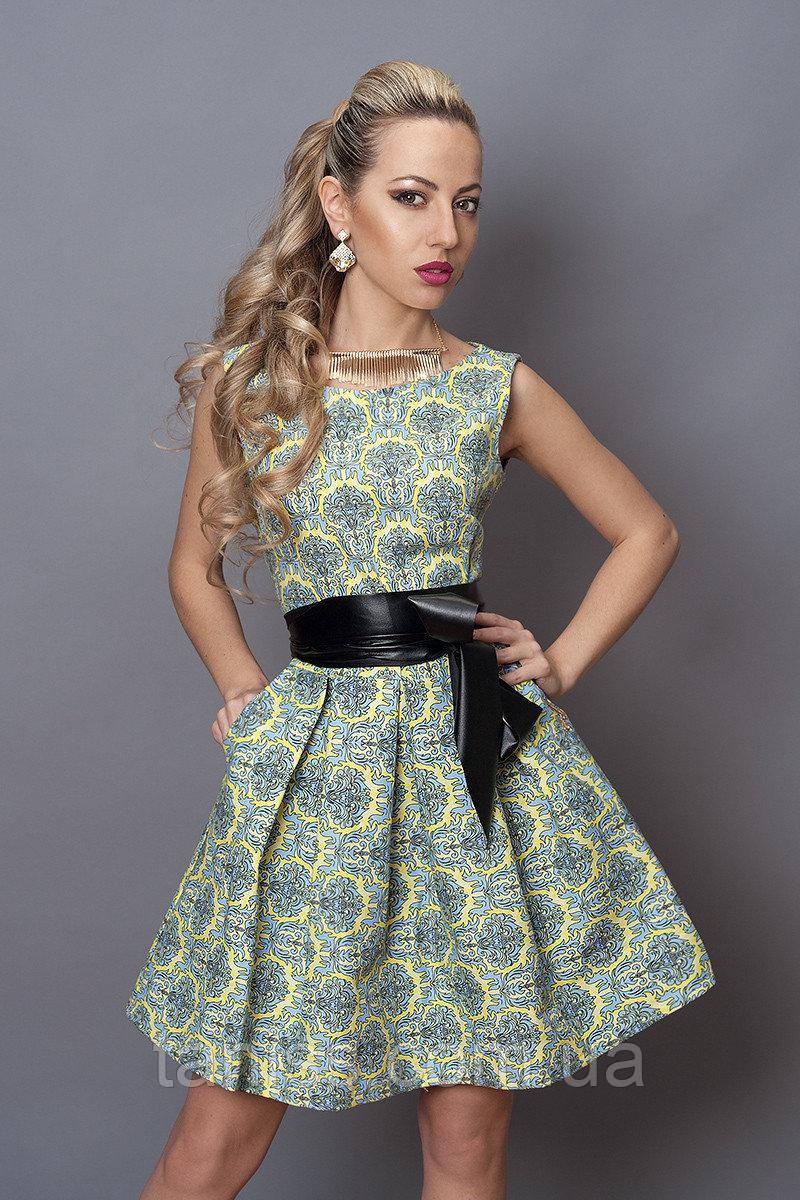 Короткое молодежное клубное платье ,подойдет на образ стиляги,ткань стрейч джинс р. 44,46,48 желтый орн  (248)