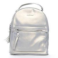 Женская сумка-рюкзак из натуральной кожи 2 в 1 серебристого цвета, фото 1