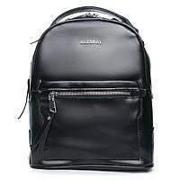 Женская сумка-рюкзак из натуральной кожи 2 в 1 черного цвета, фото 1