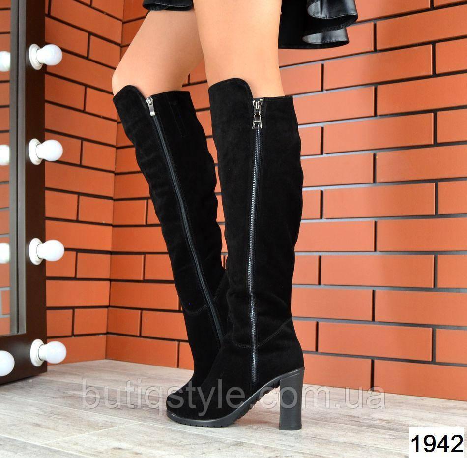 Женские черные сапоги на каблуке натуральный замш Деми