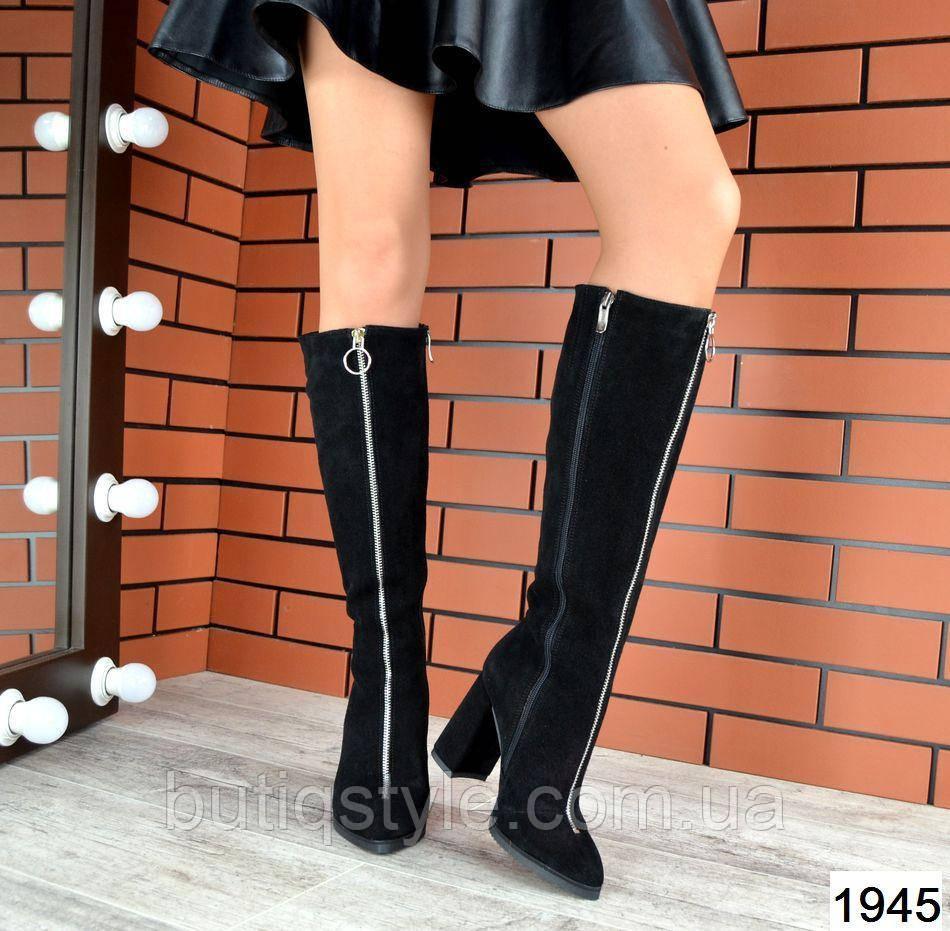 Женские черные сапоги с молнией спереди на каблуке натуральный замш Деми