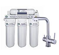 Смеситель кухонный Globus Lux LAZER GLLR-0888 CHROM ХРОМ с 4-х ступенчатой системой очистки воды Bio+ systems SL204-NEW, фото 1