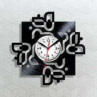 Виниловые часы Орнамент на виниле Часы на стену Черные часы Квадратные часы Белый цыферблат Часы на батарейке