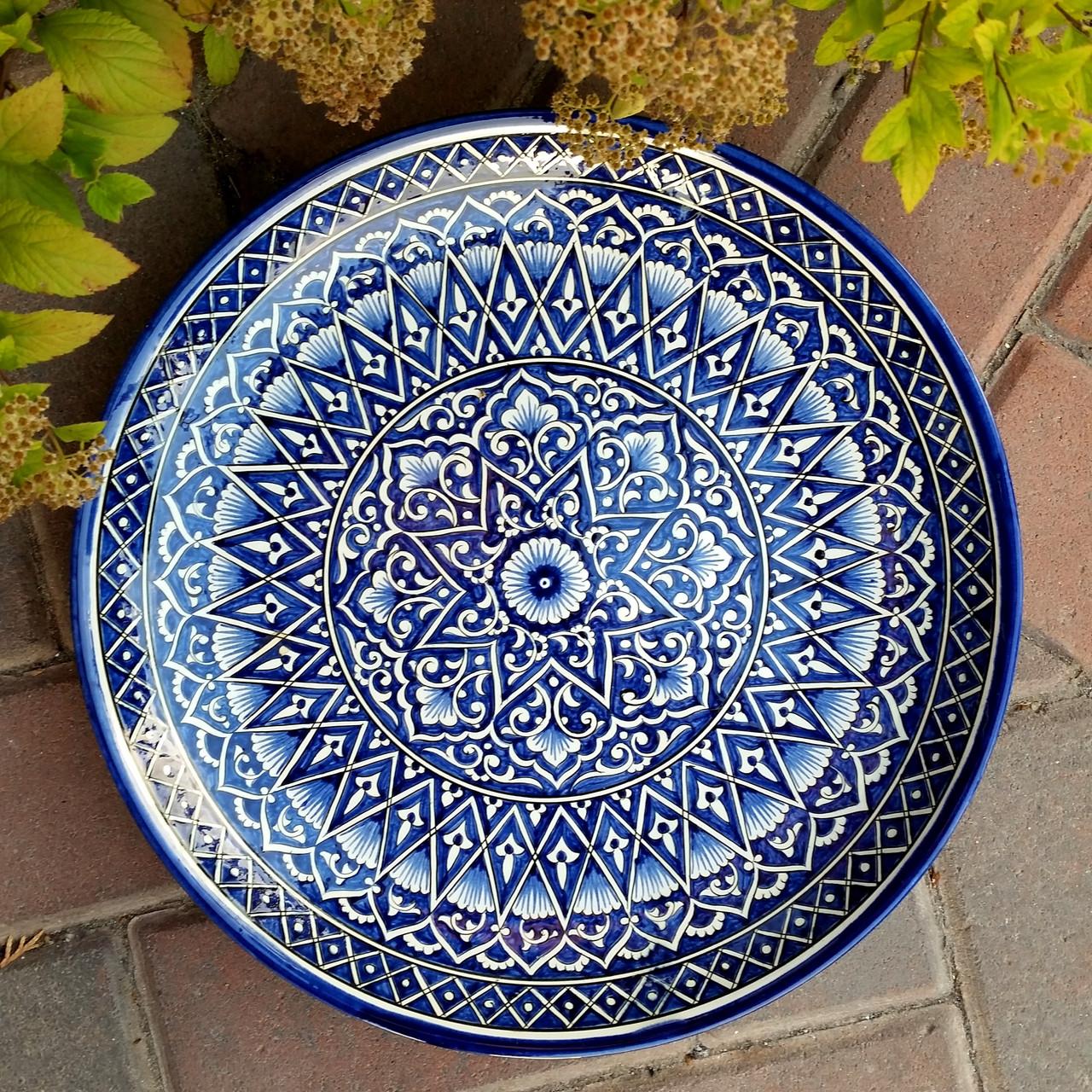 Блюдо для плова d 32 см. Классический кобальт. Узбекистан