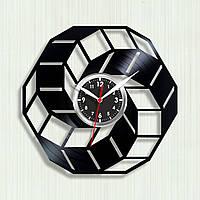 Геометричні візерунки Годинник на стіну з вінілу Об'ємні годинник Ілюзія 3D Космічні годинники Кварцовые години 30 см