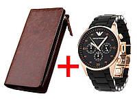 Armani Emporio стильные часы кварцевые Армани Эмпорио черные