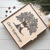 Большая ключница из дерева с оригинальной гравировкой на заказ, фото 1