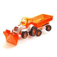 Трактор с ковшом и прицепом (оранжево-белый) 5079