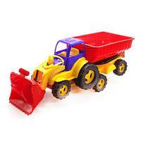 Трактор с ковшом и прицепом (сине-красный) 5079