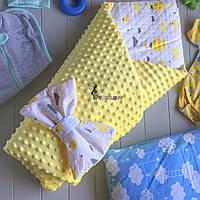 Конверт-одеяло плюш на синтепоне желтый, Шарики