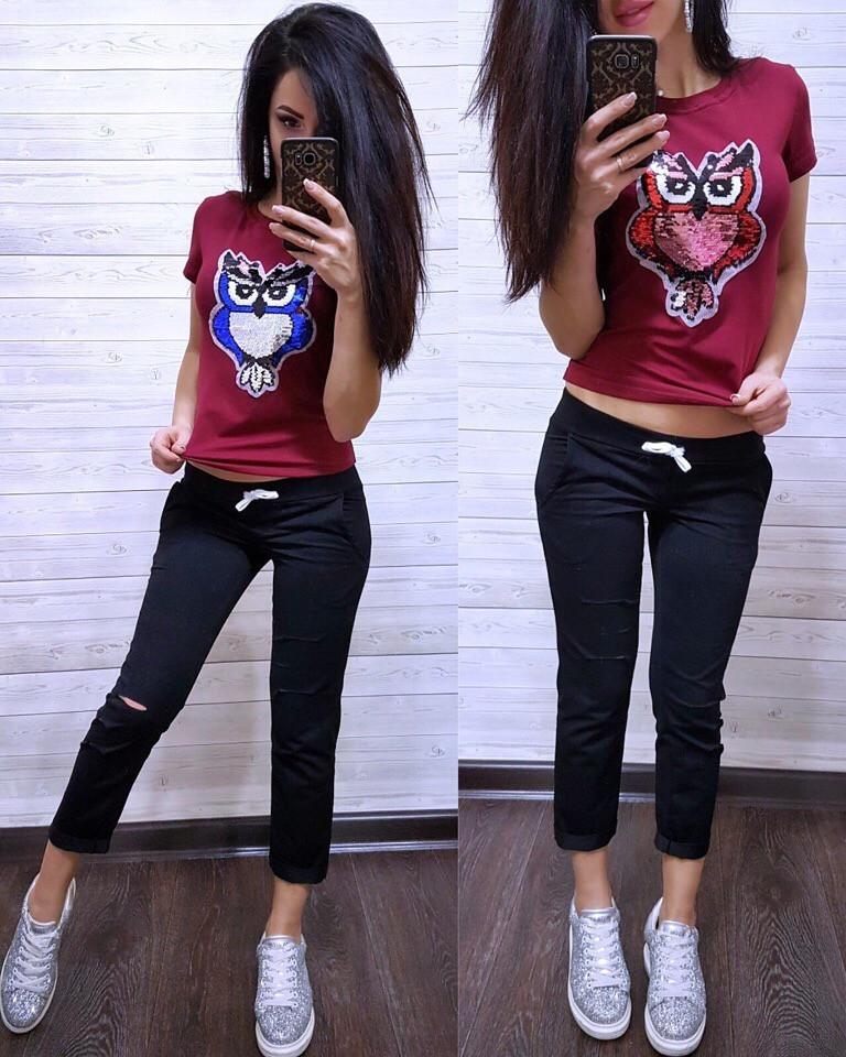 (от 42 до 54 размера) Летний повседневный костюм с футболкой с пайеткой vN2904