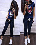 (от 42 до 54 размера) Летний повседневный костюм с футболкой с пайеткой vN2904, фото 2