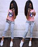 (от 42 до 54 размера) Летний повседневный костюм с футболкой с пайеткой vN2904, фото 3