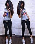 (от 42 до 54 размера) Летний повседневный костюм с футболкой с пайеткой vN2904, фото 4