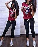 (от 42 до 54 размера) Летний повседневный костюм с футболкой с пайеткой vN2904, фото 5