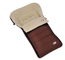 Зимний меховой чехол для санок и колясок Кидс коричневый 100*56 см