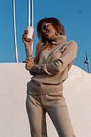 Вязаный женский брючный костюм с кофтой прямой с высоким воротником 41KO179