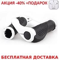 """Эргономичные велосипедные грипсы с алюминиевыми рожками """"фикс"""" (4 расцветки) Белый + наушники iPhone 3.5"""