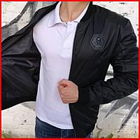 Куртка бомбер Philippe Plein мужская весенняя ( Размеры С, М, Л, ХЛ ). Стильный мужской бомбер черный