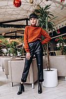 Кожаные женские брюки зауженные на тонком утеплителе 14SH378, фото 1