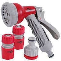 Intertool GE-0002 Пистолет-распылитель для полива 8-ми функциональный (центральный, туман, душ, угловой, полный, проливной дождь, конический,