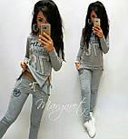 (от 42 до 50 размера) Спортивный женский костюм из двухнитки с молниями vN2930, фото 2