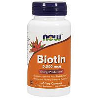 Красивая кожа волосы NOW_Biotin 5000 мкг - 60 веган кап