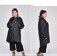 / Размеры 48,50,52,54 / Женская тёплая, минималистичная, удобная куртка батал / 1686-1-Черный