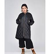 / Размеры 48,50,52,54 / Женская тёплая, минималистичная, удобная куртка батал / 1686-1-Черный, фото 2