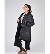 / Размеры 48,50,52,54 / Женская тёплая, минималистичная, удобная куртка батал / 1686-1-Черный, фото 3