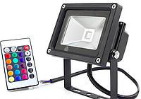 Светодиодный прожектор 20Вт RGB цветной, с пультом, фото 1