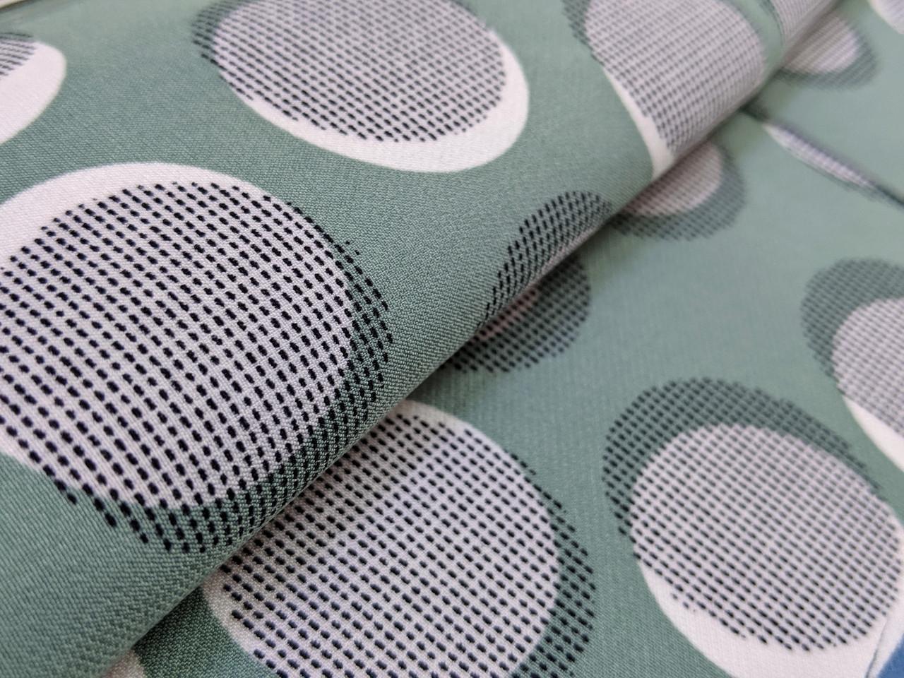 Креп костюмка диагональ круги 35 мм, фисташковый