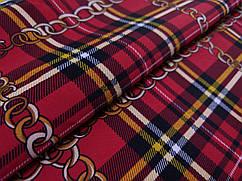 Креп костюмка диагональ клетка шотландка, красный