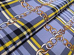 Креп костюмка диагональ клетка шотландка, голубой джинсовый