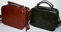 Женские клатчи, саквояжи через плечо на 2 отдела на молнии 22*17 см (рыжий и черный)