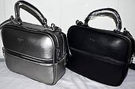 Женские клатчи, саквояжи через плечо на 2 отдела на молнии 26*20 см (графит и черный)