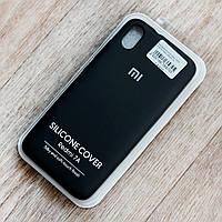 Оригинальный чехол Silicone Cover жидкий силикон для Xiaomi Redmi 7A (черный, микрофибра внутри)