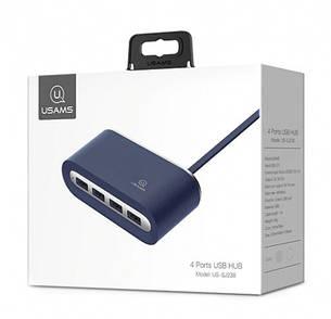USB Хаб USAMS US-SJ238 4в1 USB x 4 Синий (SJ238FX02), фото 2