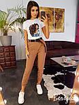 Женские штаны джоггеры на каждый день с поясом vN3194, фото 2